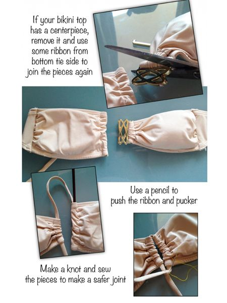 С лифа купальника срежьте металлическую часть, которая располагалась по центру. Протяните вместо нее шнур.