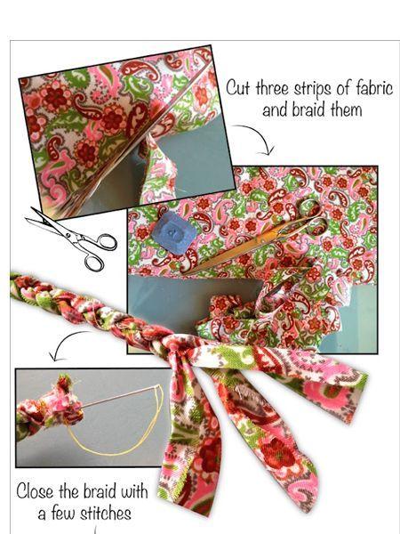 Яркую разноцветную ткань нарежьте на полоски одинаковой длины. Сплетите из них косичку. Длина косички должна быть равна длине окружности плавок или лифа.