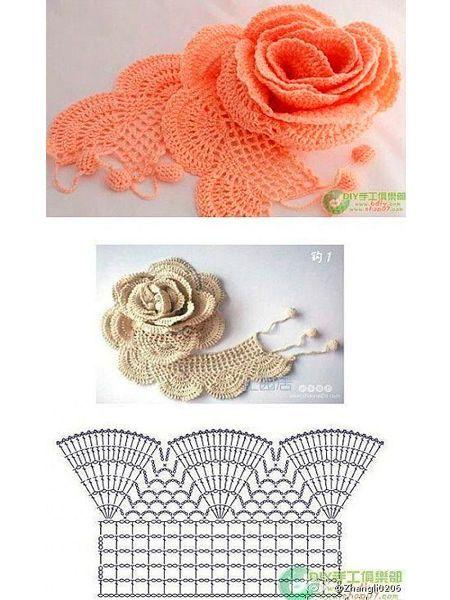 Оригинальные цветы, вязанные крючком, схемы