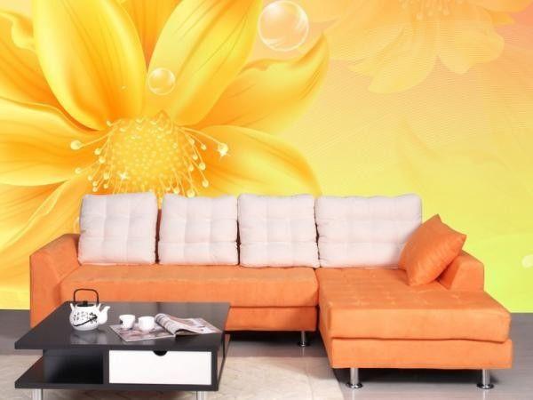 Желтый цвет в интерьере гостиной, идеи.