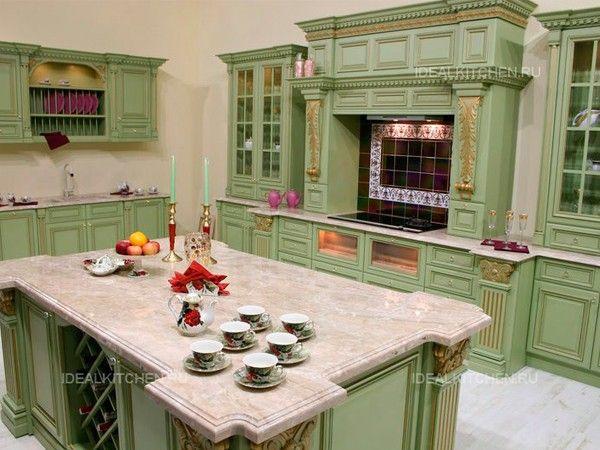 Интерьер кухни в зеленых тонах, идеи.