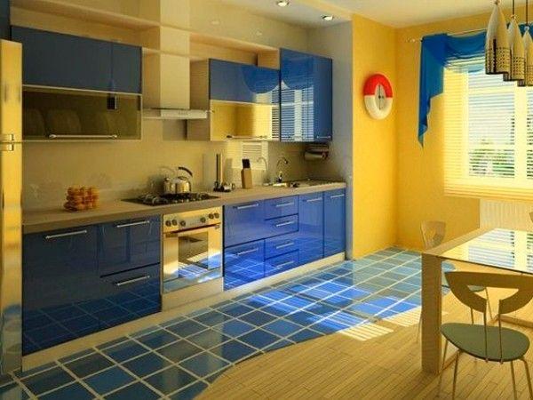 Синий цвет в интерьере кухни, идеи.