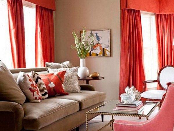 Красный цвет в интерьере гостиной, идеи.