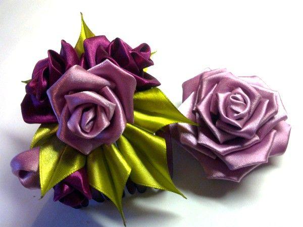 Цветы из лент, мастер-классы.