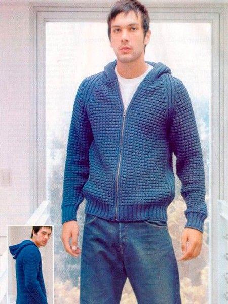 Мужские свитера с капюшоном связанные спицами