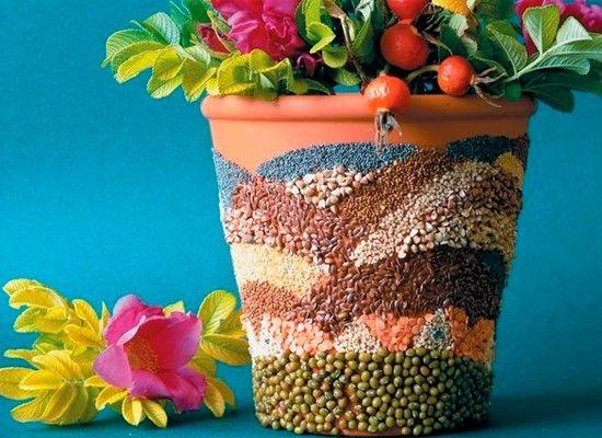 Декор цветочных горшков, мастер-классы.