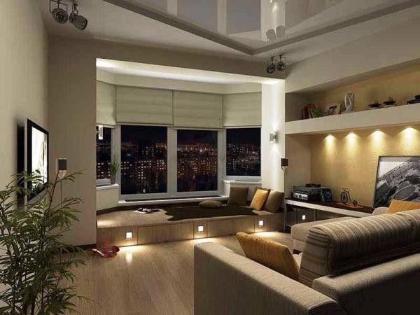 Идеи интерьера комнаты, совмещенной с балконом