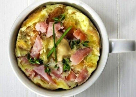 Если вы слишком ленивы, чтобы варить или жарить яйца по утрам, можете сделать проще. Разбейте сырое яйцо, немного взбейте его, чтобы перемешать желток с белком, добавьте зелёный лук и ветчину и залейте всё это в обычную кружку для кофе. Одна минута в микроволновке, и ваш завтрак готов.