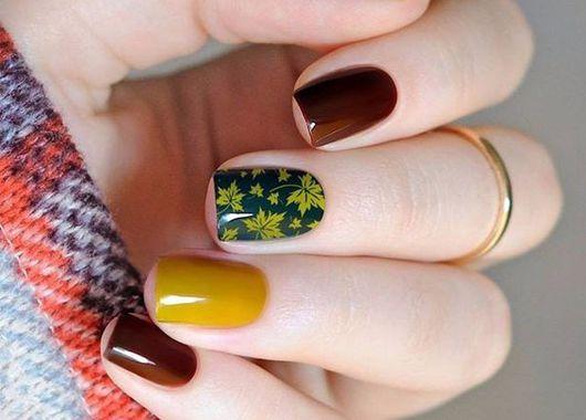 Идеи маникюра с осенними листьями