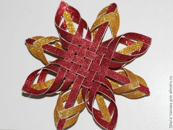 Объемная звезда на ёлку из цветного картона