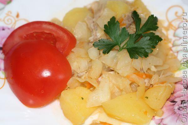 тушеные овощи с картошкой и курицей рецепт с фото