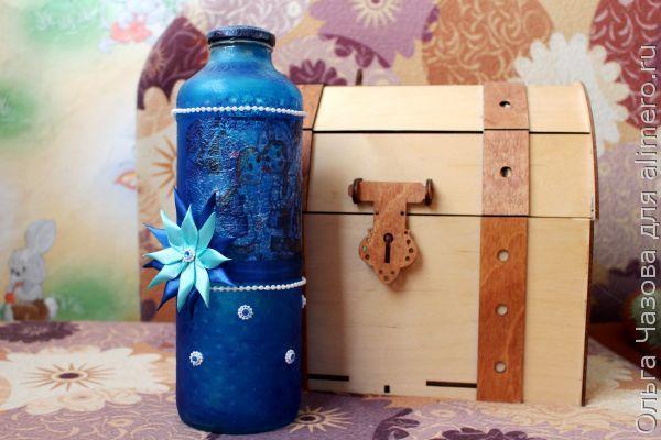 Новогодний декупаж бутылки для напитков