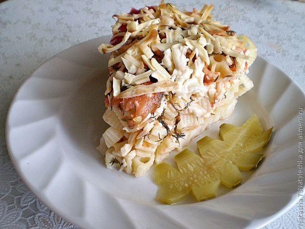 Макароны с сыром и помидорами запеченные в духовке