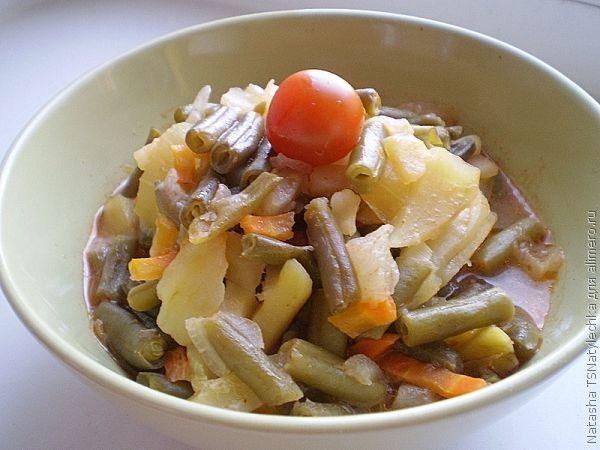 рецепт стручковая фасоль с курицей в духовке