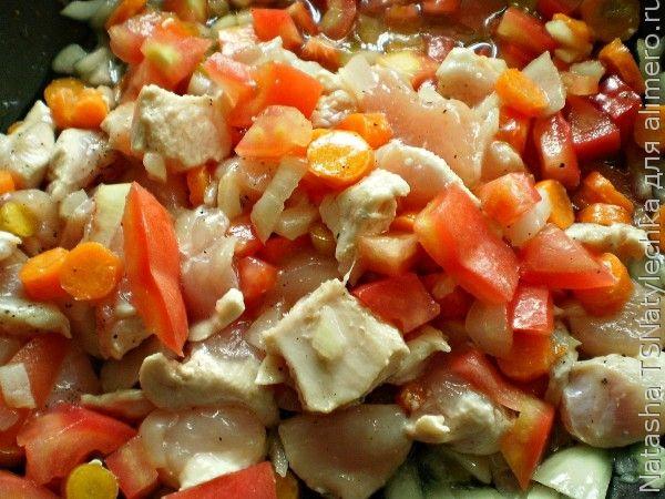 Овощное рагу, курица