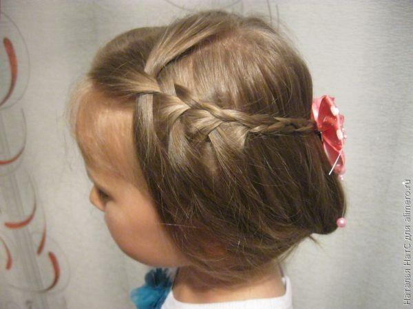 Прическа для девочки на основе косы водопад
