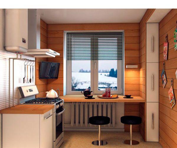 Такое оформление не только сделает комнату визуально больше, но и станет настоящей изюминкой всего помещения. Так же зрительно увеличит кухню отсутствие верхних навесных шкафчиков.