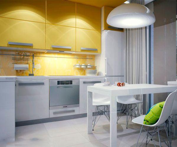 Недостаточное количество места для хранения кухонной утвари — самая распространенная проблема маленьких кухонь. Попробуйте сделать полки под потолок, тем самым вы сможете эффективно использовать место между потолком и полками.
