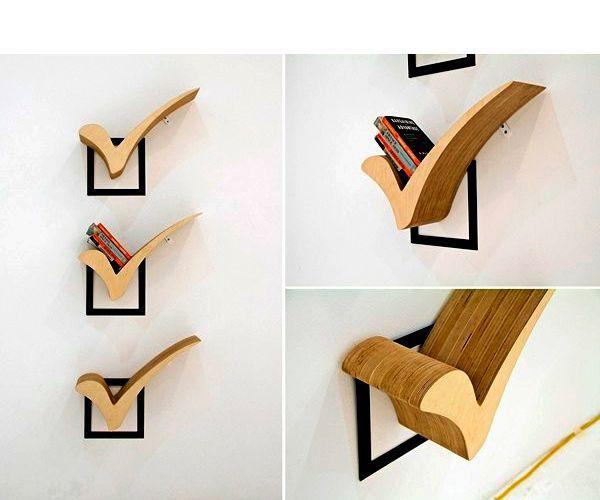 Полка в форме галочки - лучший выбор для офиса или кабинета. Просто, стильно и лаконично.