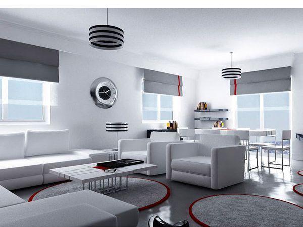 Современная гостиная, оформленная в нейтральном сером цвете, выглядит роскошно с изящными чёрными и красными акцентами.