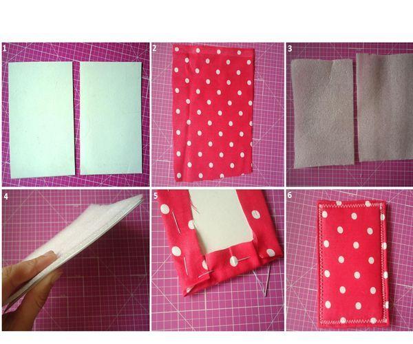 Делаем заготовки из картона, приметываем к ним ткань. Прострачиваем зигзагом на машинке.