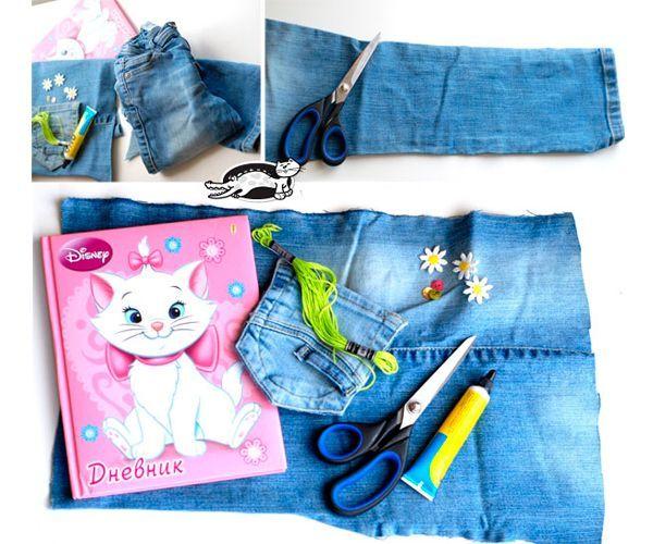 Для работы лучше подойдут джинсы, сшитые из слегка эластичной ткани. Для создания обложки нам вполне хватит одной штанины. Прежде всего разрезаем штанину по шву и подгоняем по размеру блокнота. Предварительно наживляем края булавками.