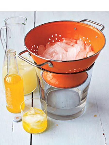 Если подаете на стол лед для напитков, подавайте его в дуршлаге, а под ним расположите миску.