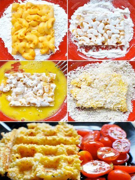 5. Смешайте отваренные макароны с яйцом и мукой. Поджарьте в вафельнице, получится вкусная запеканка.