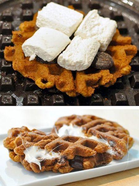 9. Если между вафлями положить шоколад и зефир, и нагреть их до расплавления, получится вкусное пирожное.
