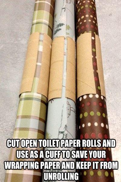Чтобы рулоны не разматывались, сделайте манжеты из рулонов от туалетной бумаги.