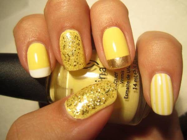 Желтый цвет в маникюре, идеи.