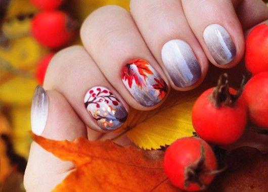 Маникюр с осенними листьями, идеи.