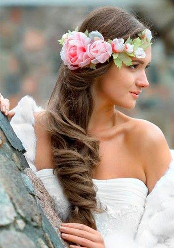 Свадебные прически в фольклорном стиле, идеи.