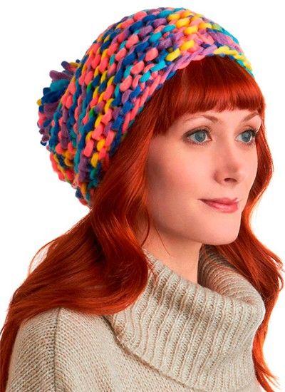 Женские шапки из толстой пряжи, идеи.