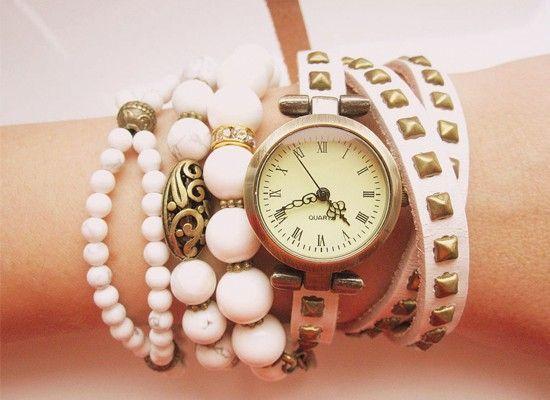 Сочетание часов с браслетами, идеи.