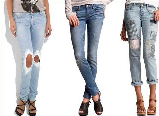 7. Потертые джинсы. Сегодня в моде классические джинсы или скинни голубого, синего, черного цветов.