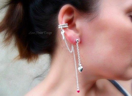 14. Серьги на одно ухо. Популярность их постепенно угасает, в моду входят многослойные серьги и цепочки.