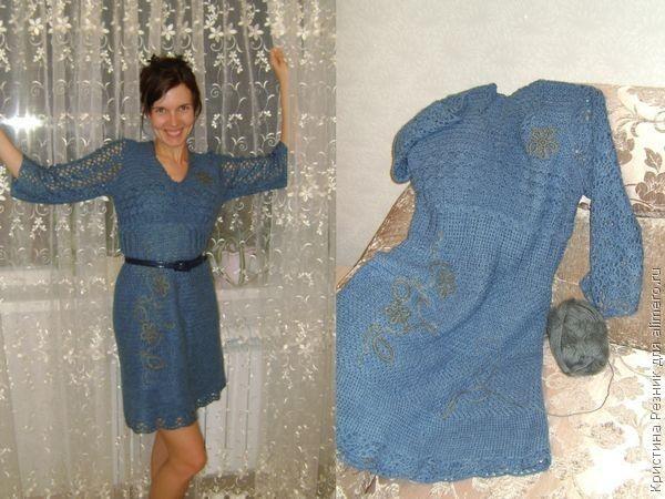Синее акриловое платье