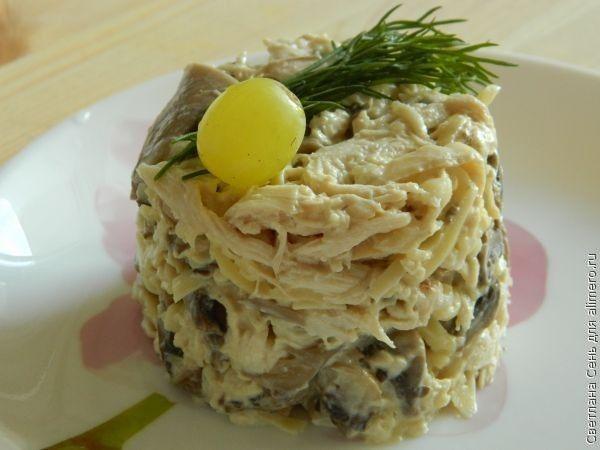 Салат с курицей грибами и сыром рецепт пошагово