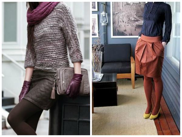 Вариант № 5. Колготы можно выбирать также в цвет низа – шорт, юбки, платья. Этот вариант подходит для колгот любого цвета – и безумно ярких, и спокойных тонов.