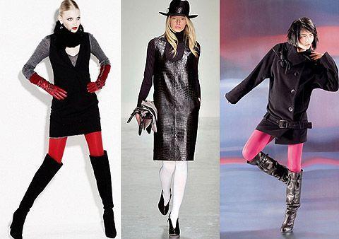 Даже красные и розовые колготы в сочетании с темной одеждой не создают впечатления излишней пестроты. Бесспорно, выглядит образ достаточно ярко, но все же в меру :)