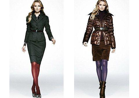 Вариант № 1. Яркие колготки можно совмещать с темной однотонной одеждой, например — с серой, темно-зеленой, черной или коричневой.