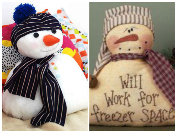 Даже обычную подушку можно превратить в зимний персонаж с морковным носом.