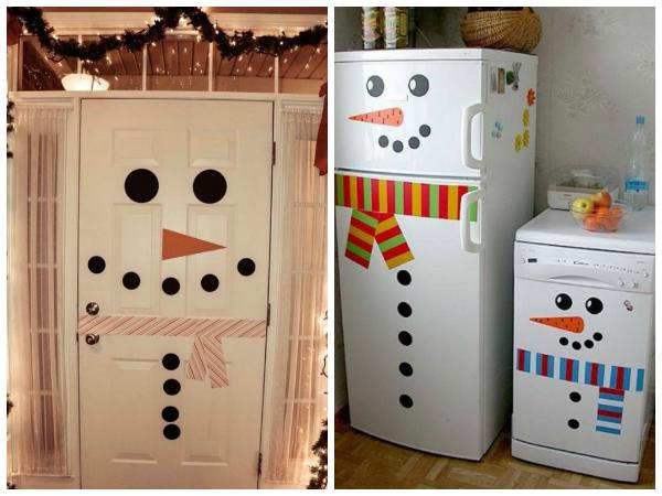 Да-да, это тоже снеговики. Правда, немного квадратные ;) Так  что если у вас нет времени сделать какую-то особую поделку, то двери, холодильник, стиральная или посудомоечная машинка вполне могут превратиться в снеговика.