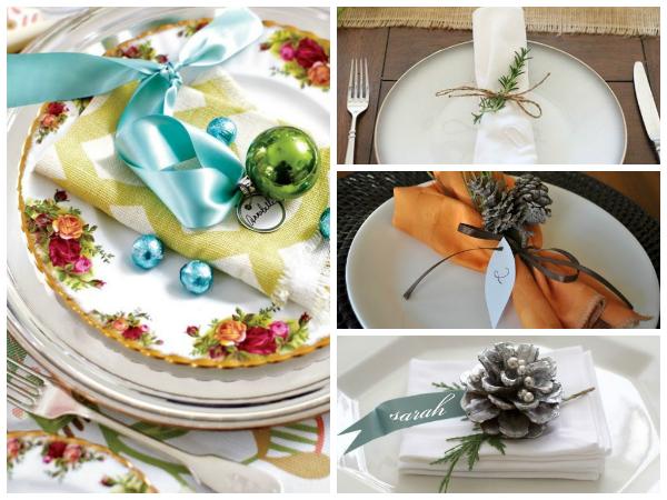 Даже самую обычную белую тарелку украсит красиво или необычно оформленная салфетка. Салфетку из ткани можно  сложить, или же свернуть в рулончик, и перевязать яркой лентой с каким-нибудь украшением.