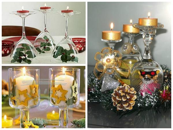 Даже обычные бокалы можно превратить в элемент декора и использовать в качестве подсвечников. Даже перевернутые!