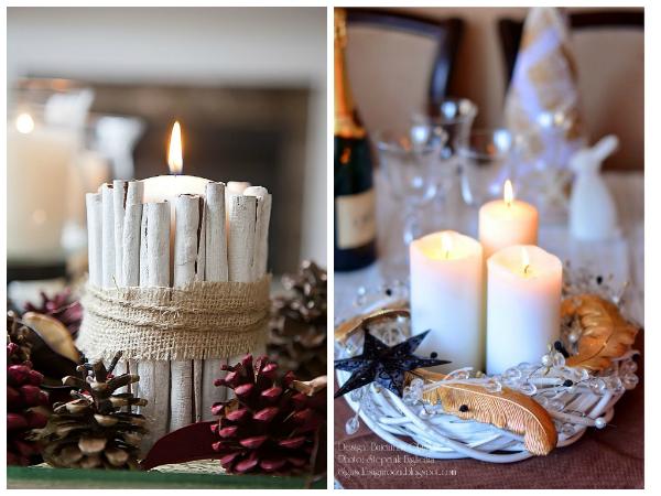 Но сами по себе свечи выглядят немного скучновато, поэтому их тоже украшаем! Вот тут можно дать волю фантазии.