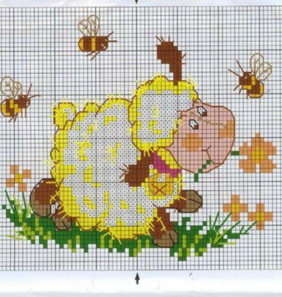 Маленькая картина с изображением этой овечки с пчелами украсит любой интерьер, особенно детской комнаты.
