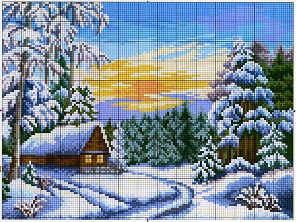 Зима. 15 схем вышивки крестом