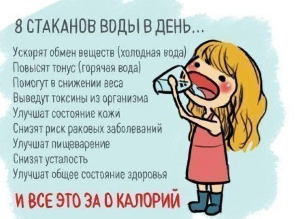 Даже если вы не любитель попить водички и не в состоянии выпивать рекомендуемые 8 стаканов, старайтесь начинать утро всего с 1 стакана чистой теплой воды. А затем пейте воду каждый час, хотя бы по пару глотков.